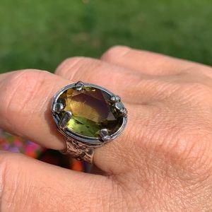 Silpada green olivine Swarovski sterling ring